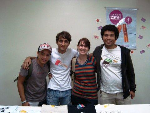 Igor, Renan, Nice e Luiz Cláudio no Stand da VIRÁ